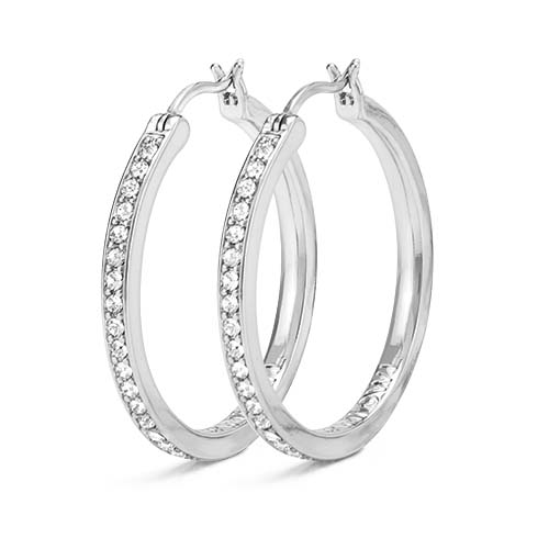 Silver 30mm Hoop Earrings with Swarovski Crystals SKU ER1021