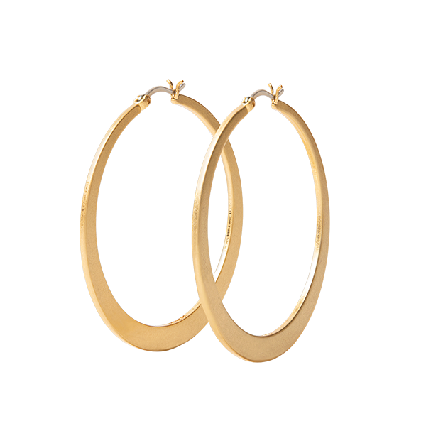 Satin Gold 50mm Flat Hoop Earrings SKU ER1038