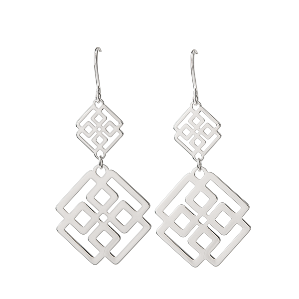 Silver Greek Key Drop Earrings SKU ER1039