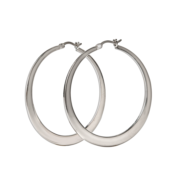 Silver 50mm Flat Hoop Earrings SKU ER1042