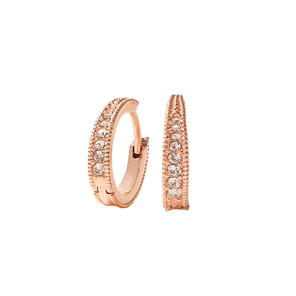 Rose Gold Petite Pav Huggie Hoop Earrings with Swarovski Crystals SKU ER1045