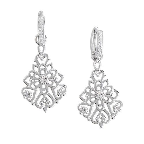 ER2103 Silver Mini Pave Sentiments Drop Earrings WEB
