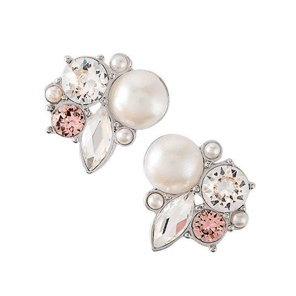 Silver Crystal Pearl Cluster Stud Earrings with Swarovski Crystals SKU ER3041