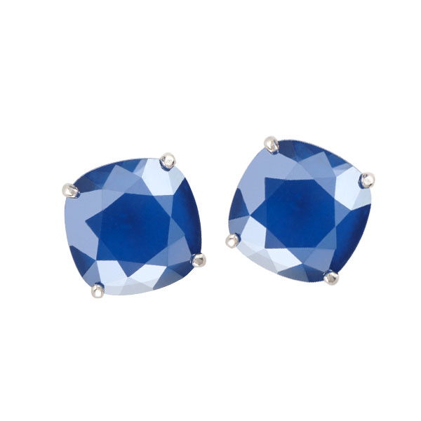 Silver Clara Stud Earrings with Royal Blue Swarovski Crystals SKU ER3055