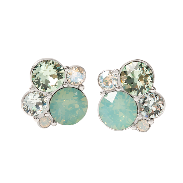 Silver Cluster Stud Earrings with Mint Swarovski Crystals SKU ER3081