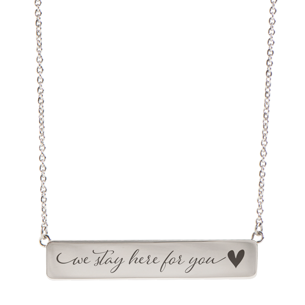 Silver We Stay Here for You Inscriptions Bar Necklace with 16 19 Chain SKU IN9001