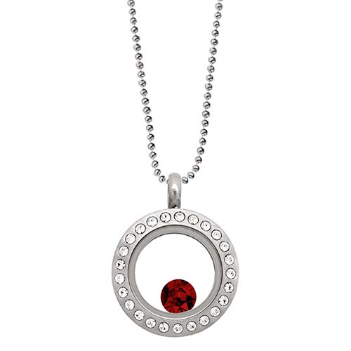 LB1030   January Swarovski Birthstone Silver Mini Living Locket Gift Set