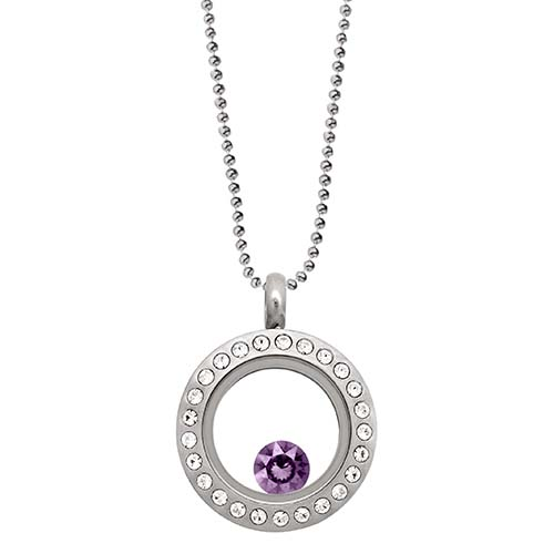 LB1031   February Swarovksi Birthstone Silver Mini Living Locket Gift Set