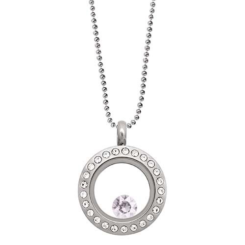 LB1035   June Swarovski Birthstone Silver Mini Living Locket Gift Set