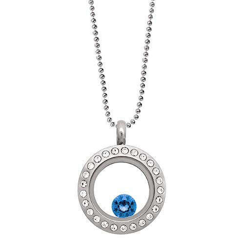 LB1038   September Swarovski Birthstone Silver Mini Living Locket Gift Set