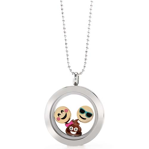 LB1073   Charmoji Silver Medium Living Locket Gift Set copy