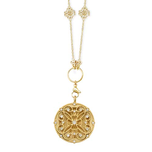 LB1108   Vintage Lace Sentiments Gold Large Living Locket Gift Set