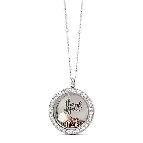 Gifting CEM Thanks Mom LB1866 Silver Thank You with White Flower Locket V1