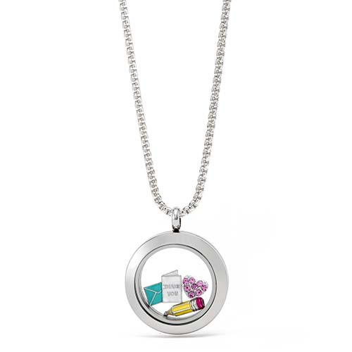 Gifting CEM Looks Teacher Appreciation Mini Silver Thank You Card Locket V1