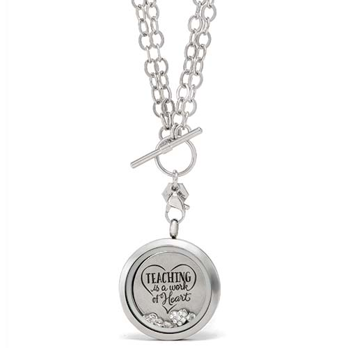 Gifting CEM Looks Teacher Appreciation Silver Teaching Is a Work of Heart Clear Crystals V1