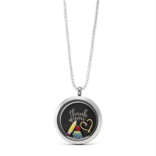 Gifting CEM Looks Teacher Appreciation Silver Locket with Black Thank You Plate V1
