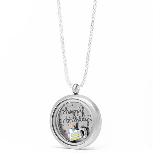 Gifting CEM Looks Happy Birthday Large Silver Locket V1