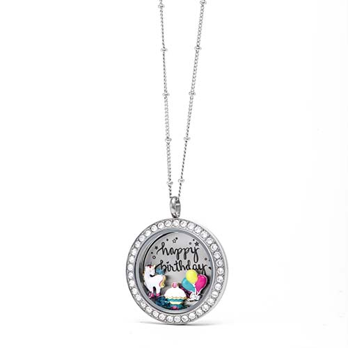 Gifting CEM Looks Happy Birthday Large Silver Unicorn Locket V1
