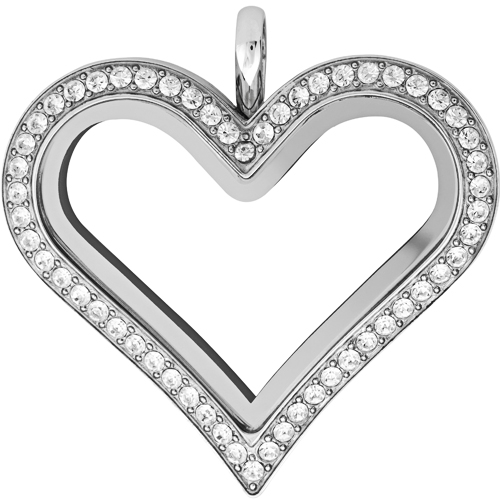 LK1027 Large Silver Heart Locket with Crystals by Swarovski V5