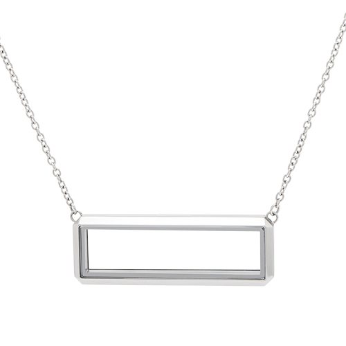LK1034 Silver Bar Living Locket with 16 18 Inch Chain V2