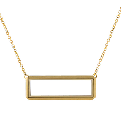 LK1038 Gold Bar Living Locket With Chain V2