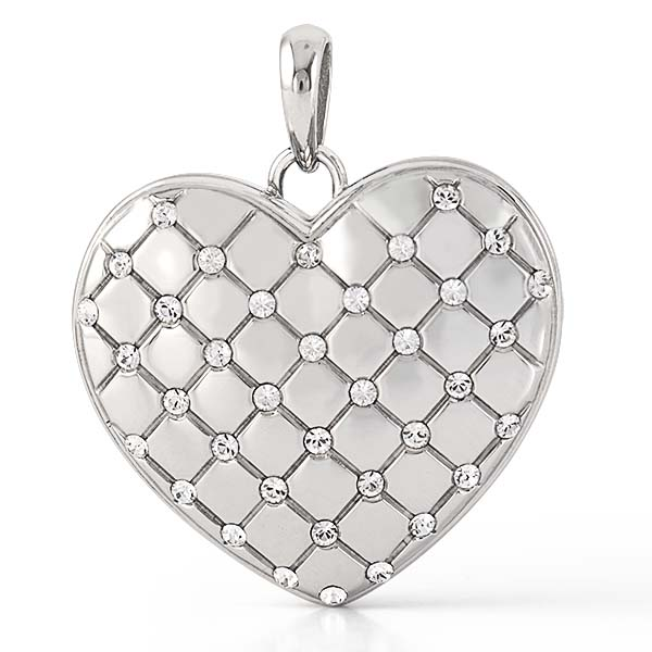 LK1042 Large Silver Quilited Heart Locket With Swarovski Crystals V1 copy