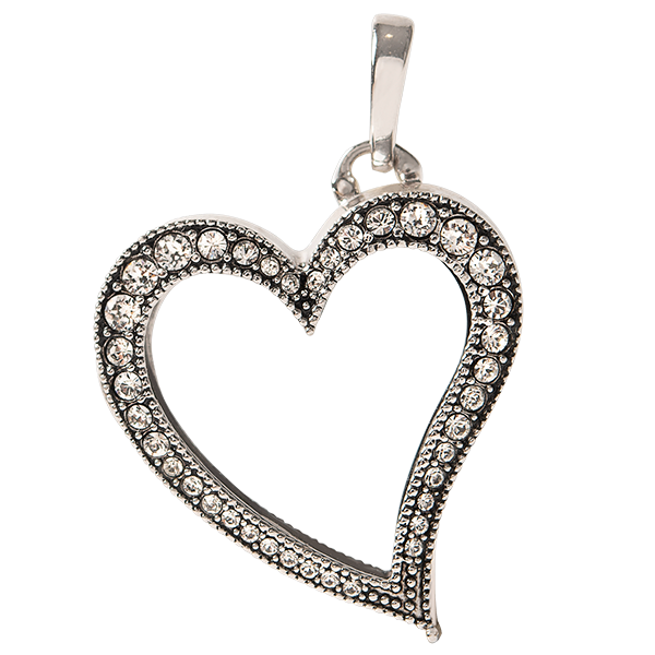 Silver Vintage Heart Living Locket with Swarovski Crystals SKU LK1060