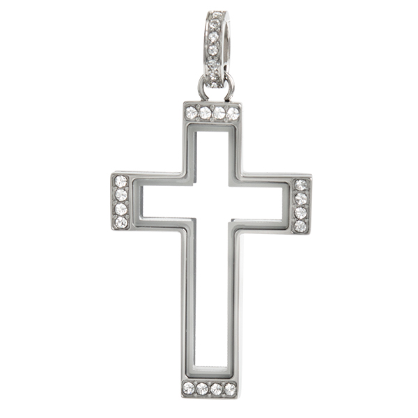 Silver Cross Living Locket with Swarovski Crystals SKU LK1074