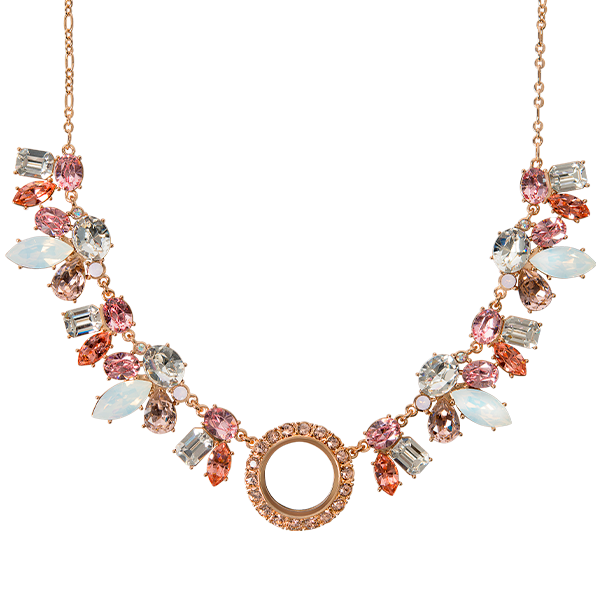 Petite Rose Gold Living Locket Statement Necklace with Swarovski Crystal 18 20 Chain SKU LK1080