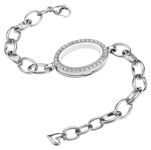 Lk3022 Silver Oval Bracelet Living Locket With Swarovski Crystals Copy