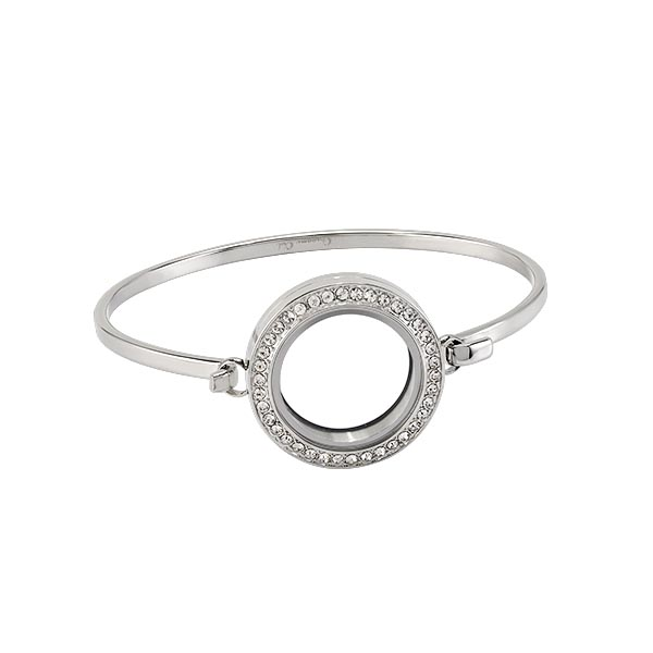 LK3027 Silver Over the Heart Locket with Bangle V1