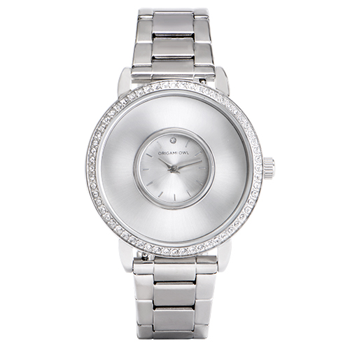 Silver Signature Living Locket Watch with Swarovski Crystals Stainless Steel Band SKU LK5001