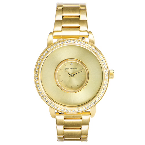 Gold Signature Living Locket Watch with Swarovski Crystals Stainless Steel Band SKU LK5002