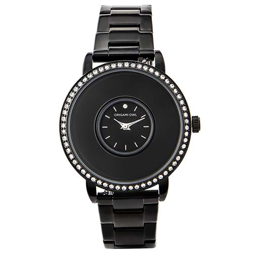 Black Signature Living Locket Watch with Swarovski Crystals Stainless Steel Band SKU LK5005