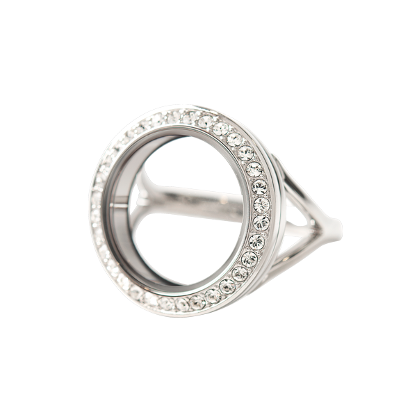 Silver Petite Twist Living Locket Ring with Swarovski Crystals 10 SKU LK7140