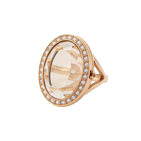 Rose Gold Blush Prism Living Locket Ring with Swarovski Crystals 6 SKU LK7216