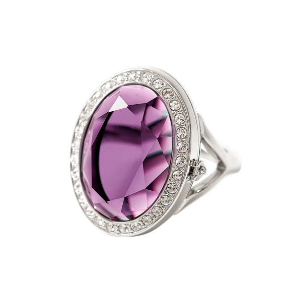 Silver Amethyst Prism Living Locket Ring with Swarovski Crystals 6 SKU LK7226