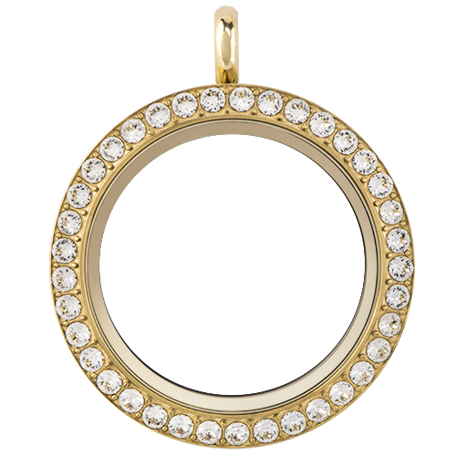 Large Gold Twist Living Locket Base Face with Swarovski Crystals SKU LK9002