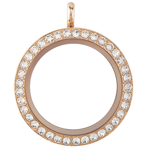 Large Rose Gold Twist Living Locket Base Face with Swarovski Crystals SKU LK9003
