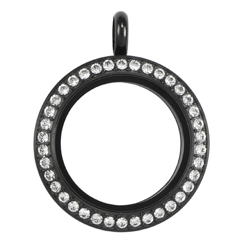 LK9013 Medium Black Twist Living Locket Base   Face with Swarovski Crystals