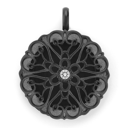 Medium Black Solid Twist Living Locket Base plus Sentiments Face with Swarovski Crystal V1 copy