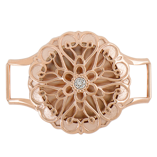 LK9051 Medium Rose Gold Solid Wrap Twist Living Locket Base Sentiments Face with Swarovski Crystal CLOSED