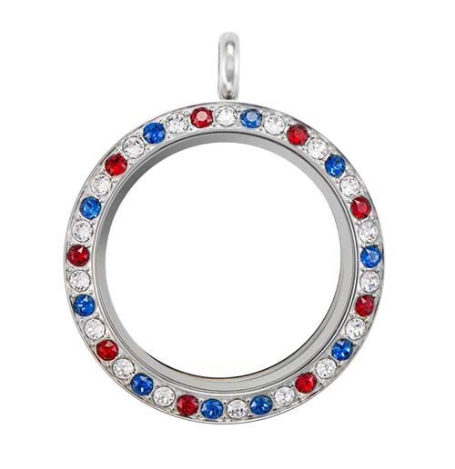 LK9058 Large Silver Twist Living Locket Base Red White Blue Face with Swarovski Crystals V1 copy