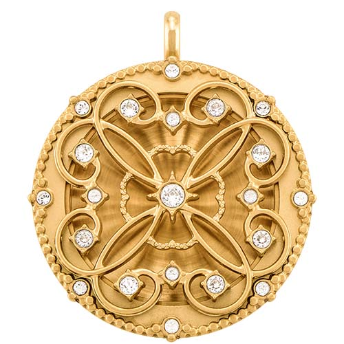 LK9064 Large Gold Solid Twist Living Locket Base Plus Sentiments Lace Face with Swarovski Crystals V1 copy