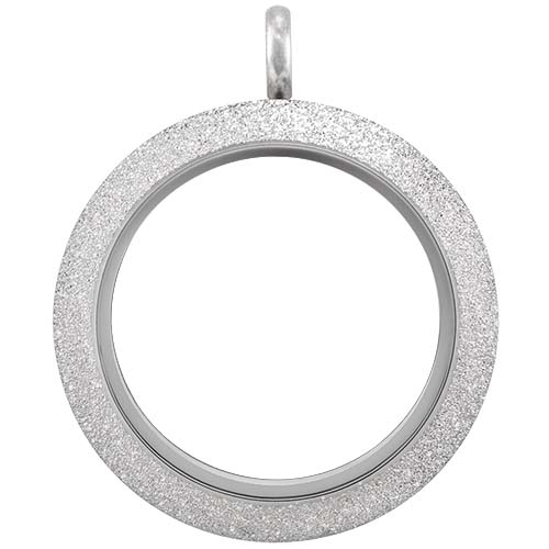 LK9073 Large Silver Twist Living Locket Base plus Sparkle Face copy