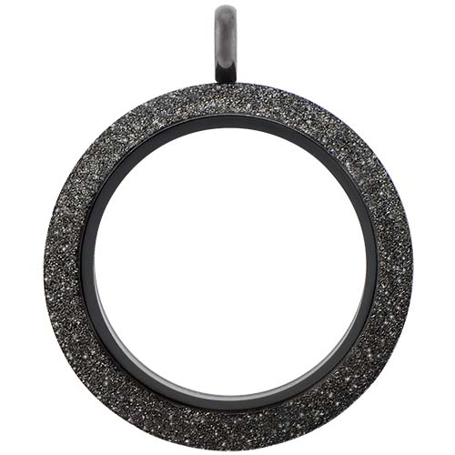 LK9074 Large Black Twist Living Locket Base plus Sparkle Face V1 copy