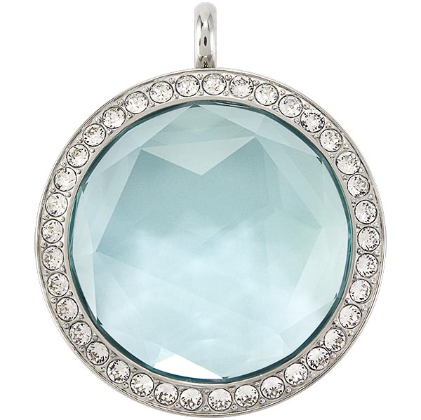 LK9086 Large Silver Twist Living Locket Base Aqua Gem Living Locket Face