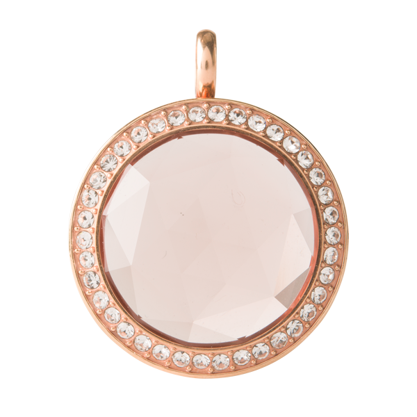 Medium Rose Gold Twist Living Locket Base Blush Prism Face with Swarovski Crystals SKU LK9087