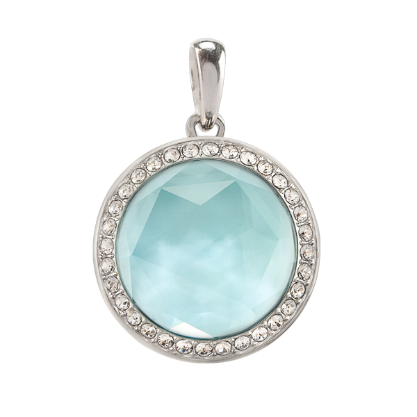 Petite Silver Twist Living Locket Base Aqua Prism Face with Swarovski Crystals SKU LK9103