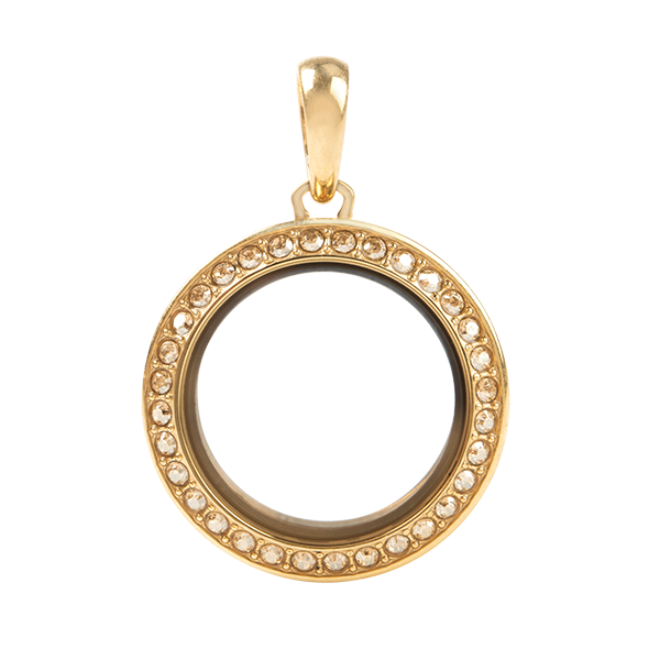 Petite Gold Twist Living Locket Base Face with Golden Shadow Swarovski Crystals SKU LK9112